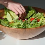 15 inch bowl with salad and hand