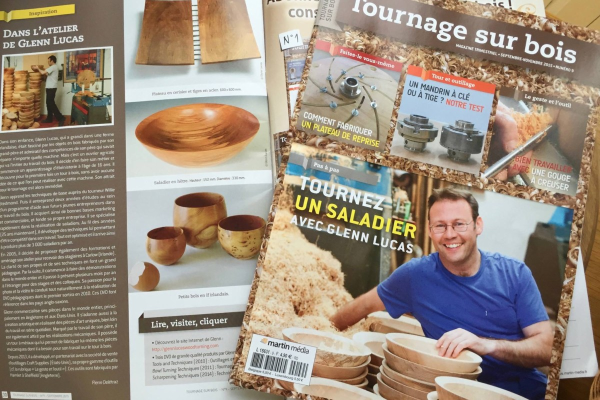 Tournage sur bois Magazine November 2015 with Glenn Lucas article and cover