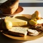 woodturned platter with cheese and apple and Bread by Glenn Lucas