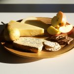 woodturned platter  with cheese and apple by Glenn Lucas