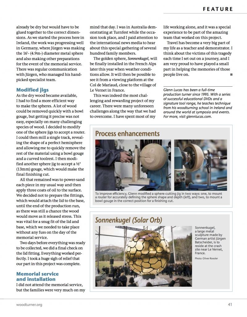 page 4 SolarOrb_Glenn Lucas first published in Oct 2017 in American Woodturner, the journal of the AAW